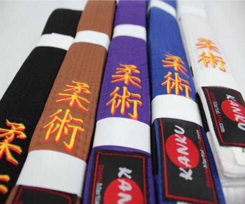 White Blue KANKU Jiu Jitsu Gi Bjj Belt A1 A2 A3 A4 A5 Black Brown Purple
