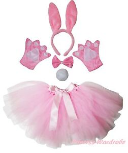 Easter-Party-Adult-Light-Pink-Bunny-Rabbit-Headband-Paw-Tail-Bow-Skirt-Costume
