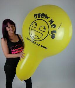 1-x-SMILEY-Cattex-32-034-XXL-NECK-Luftballon-gelb-yellow-looner