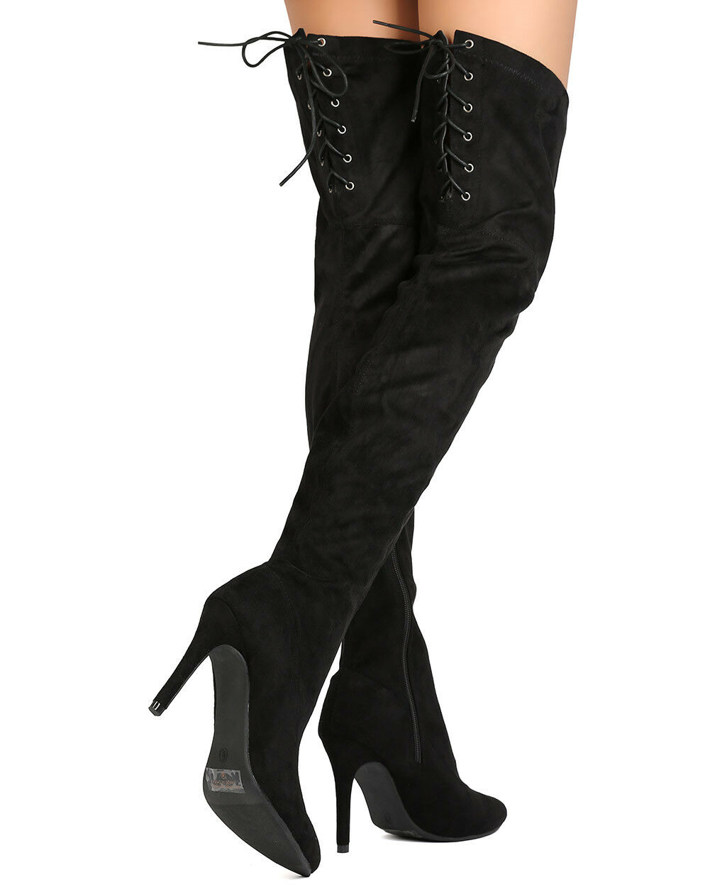 New Women Indulge Gloria-01 Faux Suede Thigh High Lace Up Stiletto Boot