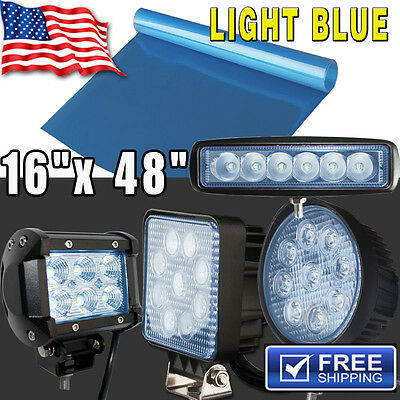 """*16""""x48"""" Neon Blue Car Vinyl Tint Film For JEEP Work LED Light Offroad SUV 4WD"""