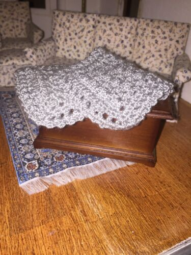 CROCHETED BY ARTIST Gray MINIATURE DOLLHOUSE  BLANKET 3 X 6 Inches