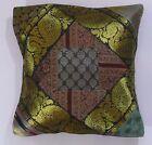 "Brocade 16"" Cushion Cover x 1 Square Patchwork Multi Boho Decor Ethnic"