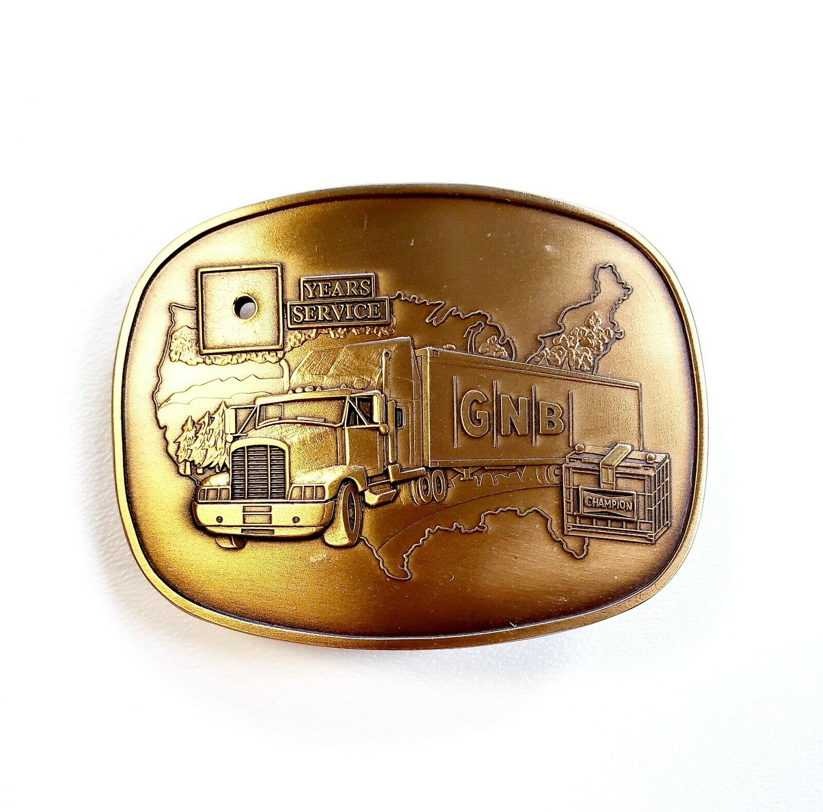 GNB Bank Employee Years Service Belt Buckle USA Made Solid Brass 3