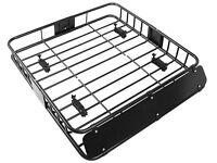 Black Universal Roof Rack Cargo Car Top Luggage Holder Carrier Basket Travel Suv on sale