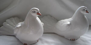 PAIR OF RARE JAY WILLFRED LARGE WHITE DOVE FIGURINES