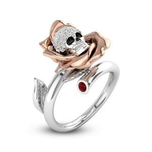 Devil-039-s-Rose-Women-Men-Ruby-Punk-Gothic-925-Silver-Wedding-Ring-Gift-Open-size