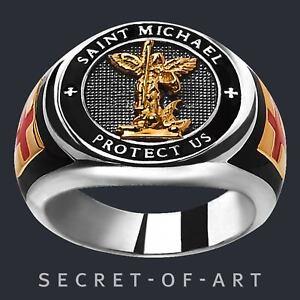 Saint St Michael Ring Sankt Erzengel Protect us Silber 925 Ring 24K-Gold-Plated