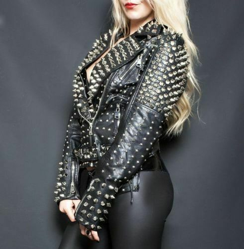 Woman's Spiked Studded Leather Jacket Black Biker Punk