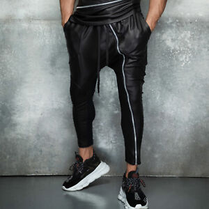 By-Alina-Mexton-Herren-Boyfriend-Skinny-Jogginghose-Trainingshose-Lederlook-S-XL