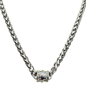 Kirks-Folly-Magic-Weave-17-034-Chain-Magnetic-Interchangeable-Necklace-Silvertone
