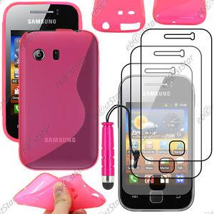 Détails sur Housse Etui Coque Silicone Rose Samsung Galaxy Y S5360 Mini Stylet 3 Films