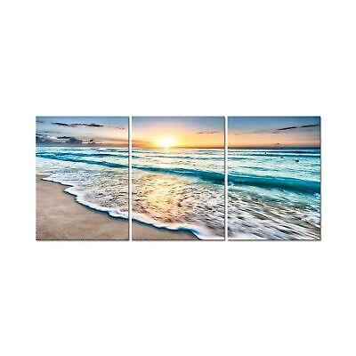 Pyradecor 3 Panels Blue Beach Sunrise White Wave Pictures Painting