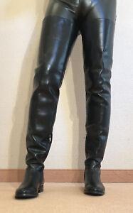 Gr-44-TOP-Exklusiv-Sexy-Damen-Schuhe-Overknee-Flache-Stiefel-Maenner-Boots-D3