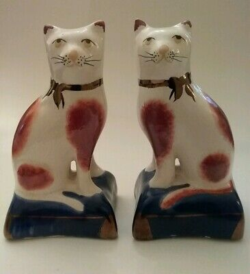 Staffordshire Porcelain Cats Sitting