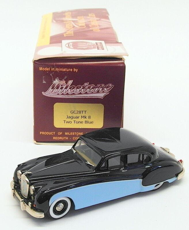 Milstone Miniatures 1 43 Scale Model Car GC28TT - Jaguar Mk8 - 2-Tone blu