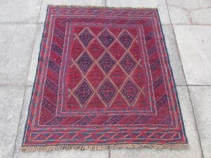Old-Hand-Made-Afghan-Traditional-Mushvani-Oriental-Red-Wool-Square-Rug-120x105cm