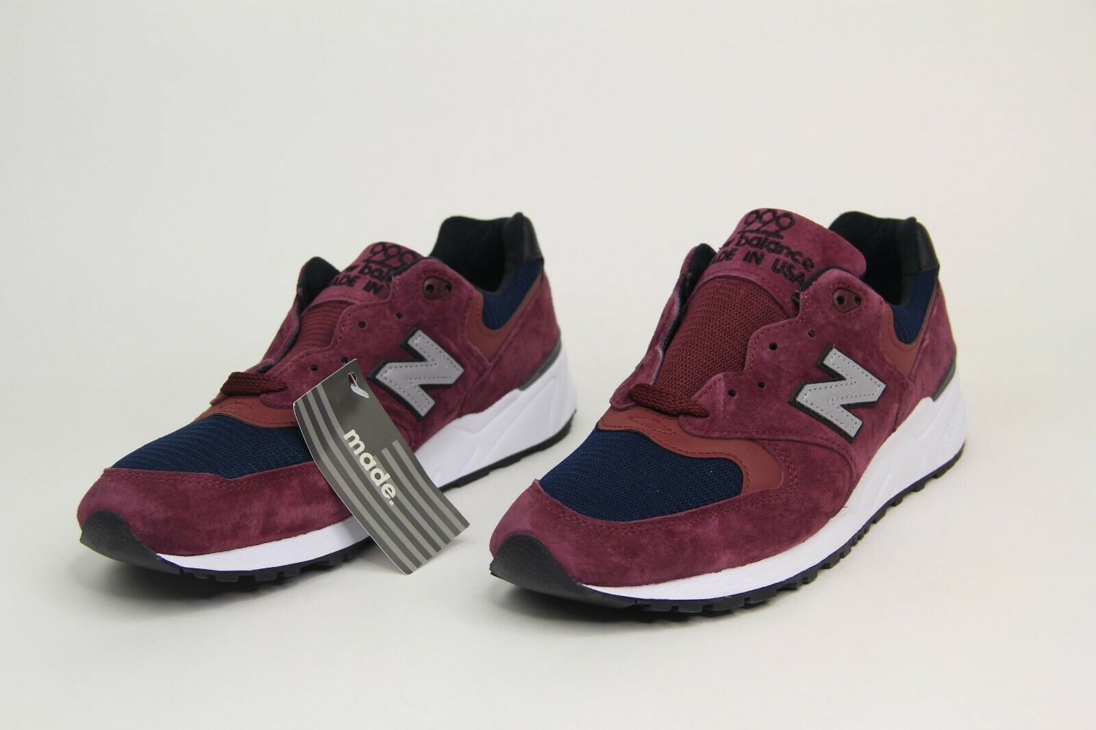 New Balance 999 Made In USA Maroon Navy Running shoes M999JTA Men's Size 10