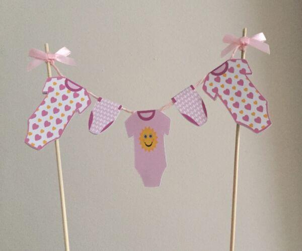 b3af2b51e Baby Shower Girl Boy Pink Blue Washing Line Bunting Cake Topper Non ...