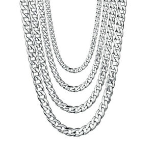 Mens-18-034-36-034-Stainless-Steel-Silver-Tone-Chain-Cuban-Curb-Necklace-3-5-7-9-11mm