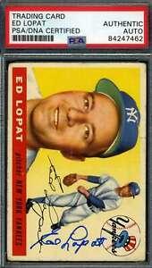 Ed Lopat PSA DNA Coa Autograph 1955 Topps Hand Signed