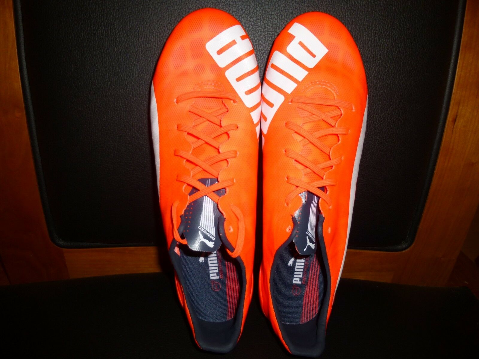 Men's Puma evoSPEED SL FG Soccer Cleats 103235 Lava Blast Orange Size 8