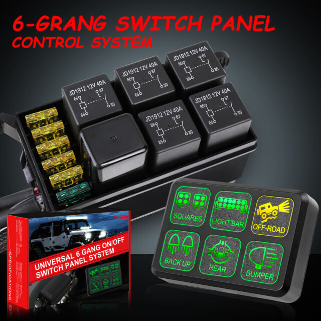6Gang Switch Panel Electronic Circuit Control System For LED Work Light on