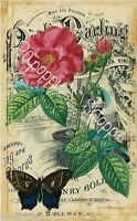 Fabric Block Vintage Pink Flower Sheet Music Butterfly Chic Shabby