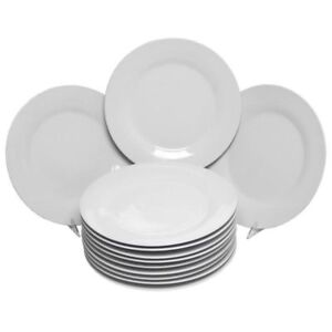 ... White Dinner Plates 12 Set 10.5  Porcelain Genuine Dishwasher Safe Easy Durable. Stock photo  sc 1 st  eBay & 10 Strawberry Street 10.5