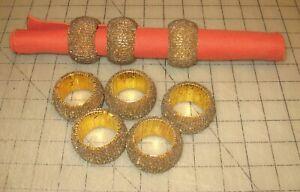 8-Vintage-2-034-Gold-Colored-Thread-Spun-Bracelet-Look-Napkin-Rings-Unmarked