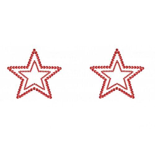 Bijoux Seins Nipples Cache Tétons Strass Brillants Etoiles Rouges NEUF T