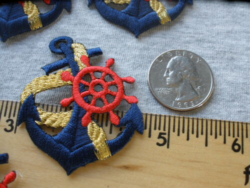 ANCHOR-NAVY w//GOLD ROPE /& RED WHEEL NAUTICAL BOAT IRON ON EMBROIDERED PATCH 9pcs