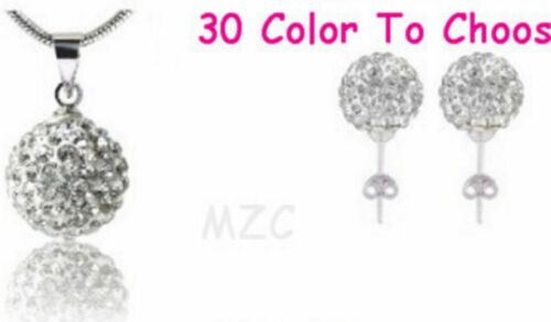 10set//lot 10mm mix black white chain stud crystal shamballa earring necklace set