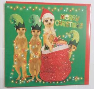 Santa-and-his-meery-elves-Meerkat-Santa-Hat-presents-Christmas-card-glitter