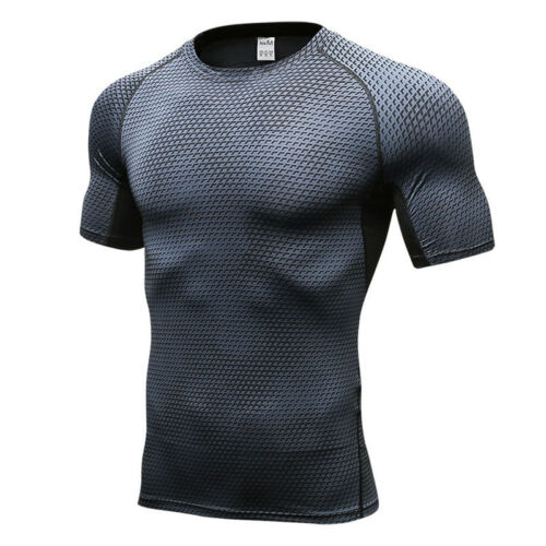 Herren Fitness Kompression T-shirts Gym Lässig Jogging Sports Oberteile Tops DE