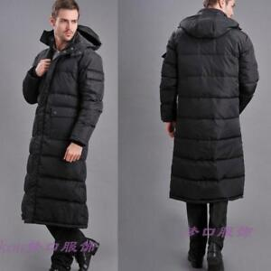 Mens-Duck-down-jacket-long-puffer-Winter-warm-coat-Hooded-Full-length-Parka-sz
