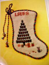 Needlepoint Chart Lauras Christmas Stocking Ornament Sally London 18 Ct Canvas