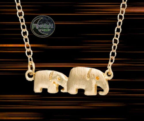 New Mother and Baby Elephant Momma Womens Gold Silver Necklace
