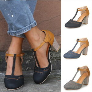 Chaussures-Femme-Haut-Talon-Bloc-Sandales-Cheville-Travail-Chaussures-Ete