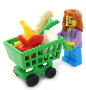 New Lego Mom With Shopping Cart Minifig Lot Food Minifugre Apple Banana Bread Ebay