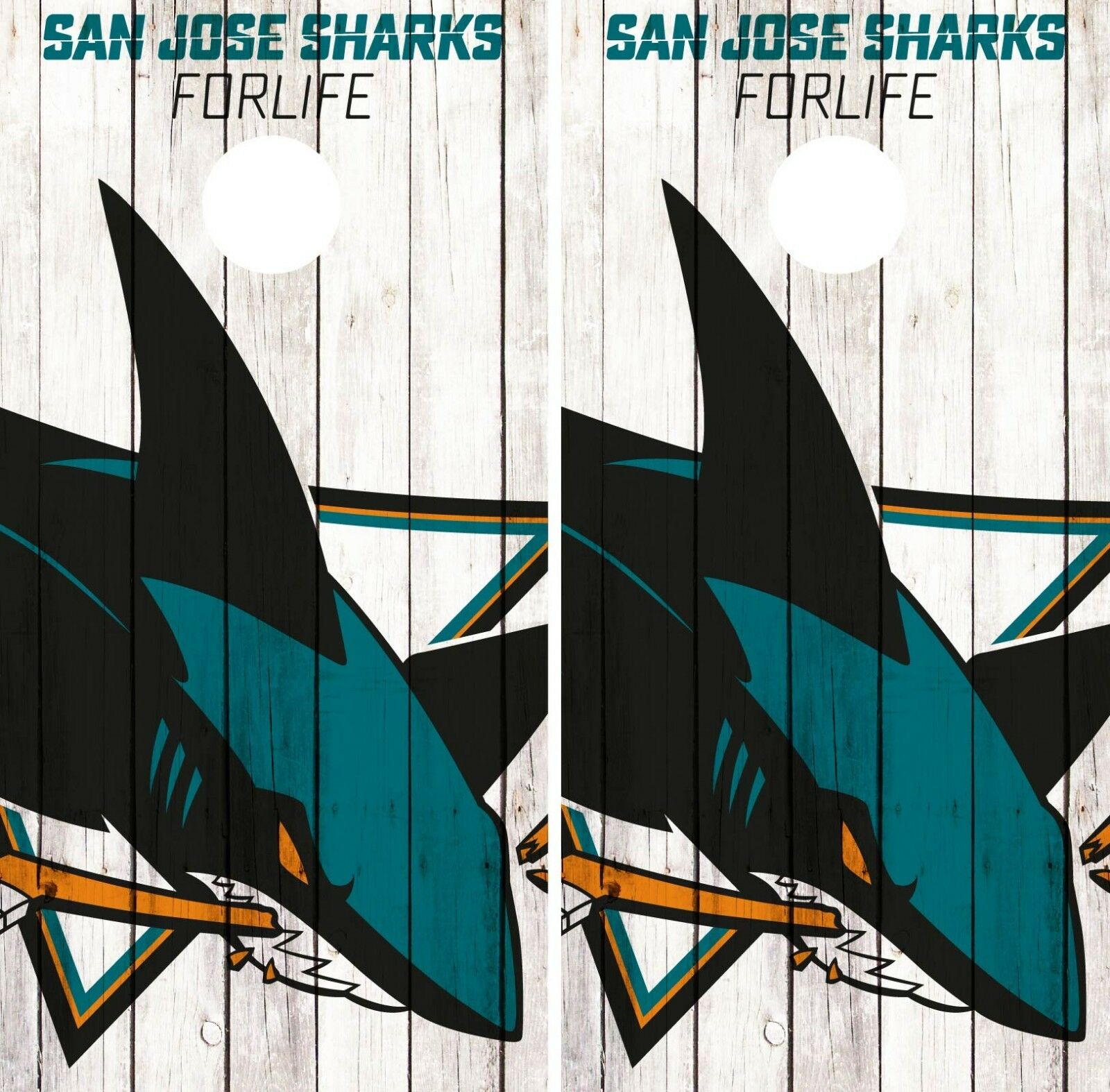 San Jose Sharks Cornhole  Wrap NHL Logo Game Board Skin Set Vinyl Decal Art CO210  select from the newest brands like