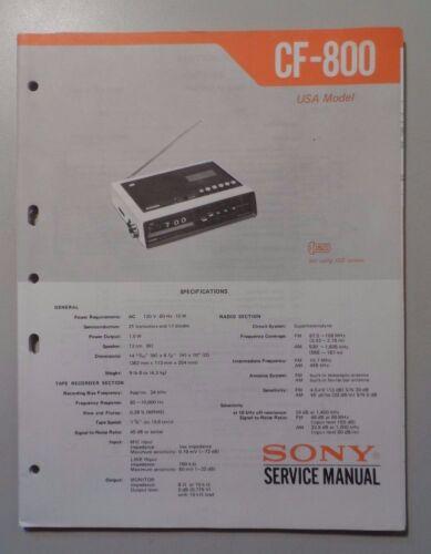 Sony Model CF-800 Clock Radio Service Manual
