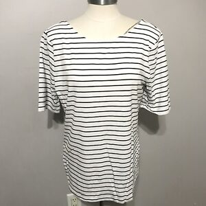 A-New-Day-White-L-and-black-stripe-blouse-top-women-NWT-short-sleeve