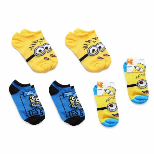 Despicable ME Minions Kids 3-Pair Socks 6-8.5 Shoe Size 10.5-2.5 NEW