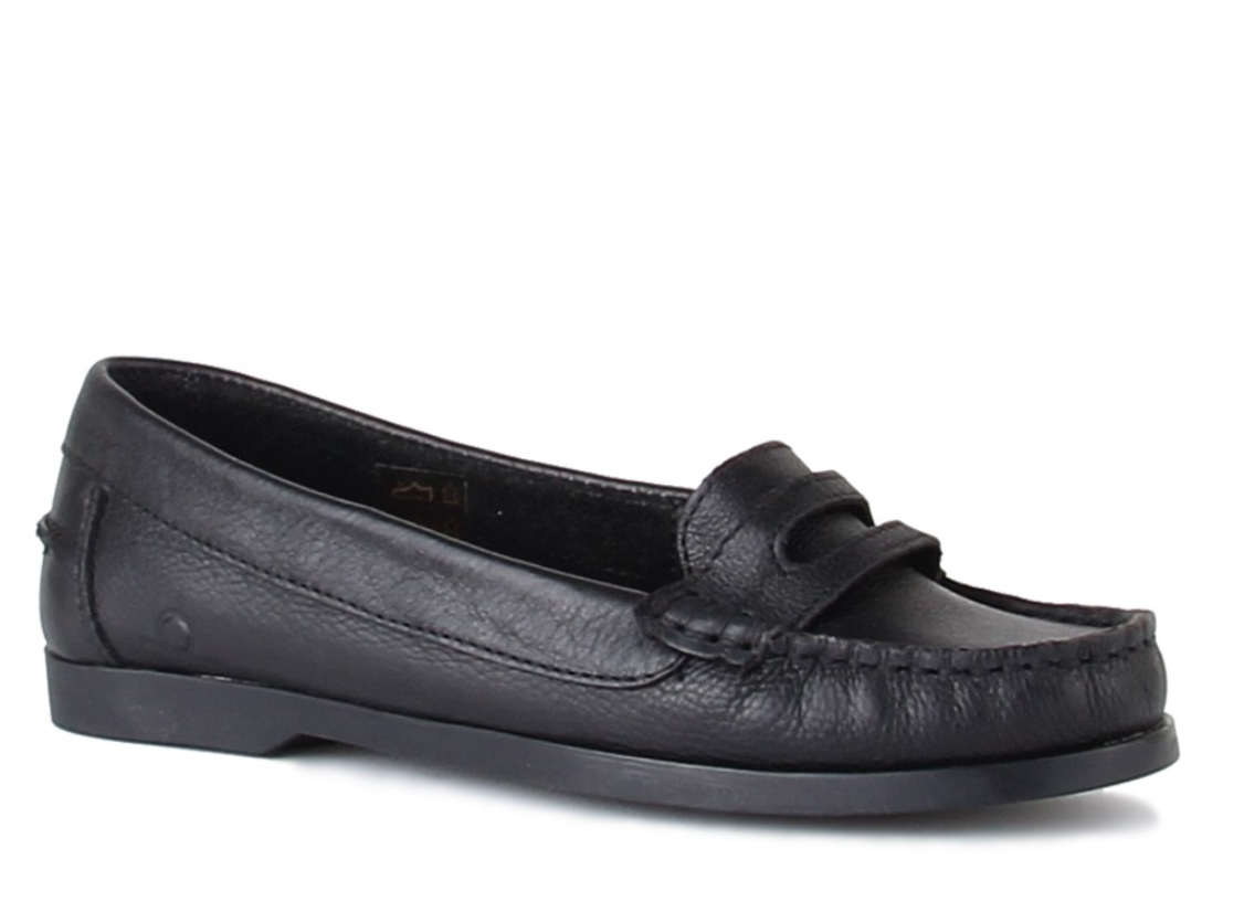 Chatham Sally Womens UK 6 EU 39 Black Leather Penny Loafer Slip on Flat shoes