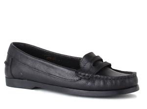 scarpe in Uk pelle nera 6 piatte Sally Chatham Womens 39 on Penny Loafer Eu Slip 0nwqOESfY