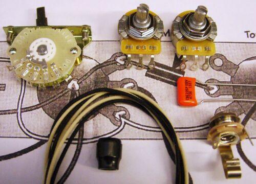 4-Way Tele Mod Kit CTS Split or Solid Shaft Pots Orange Drop Switchcraft Oak