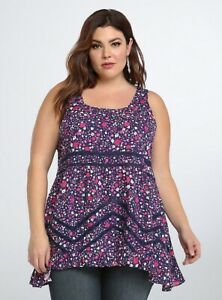 Torrid-Womens-Size-0-Navy-Pink-Floral-Hi-Lo-Ruffle-Tank-Top-Lace-Sleeveless
