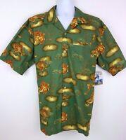 No Fear Green Tiger Eye Short Sleeve Button Front Men's Shirt Size Xl