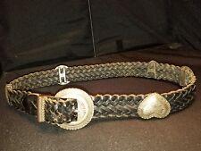 EUC Brighton L Women's Belt 43903 Black Braided Leather LG Silver Medallions
